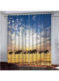 Delicate 3D Animal Print Blackout and Dust-proof Curtains with elephants Migration Pattern 200g/㎡ Polyester No Pilling No Fading No off-lining Polyest