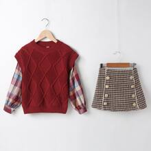 Girls Contrast Plaid Sleeve Sweater & Double Button Houndstooth Skirt