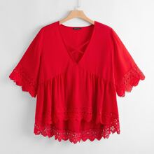 Plus Contrast Lace Dip Hem Criss Cross Babydoll Blouse