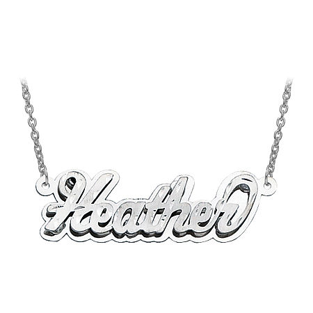 Personalized Diamond-Cut 3D Name Necklace, One Size , White