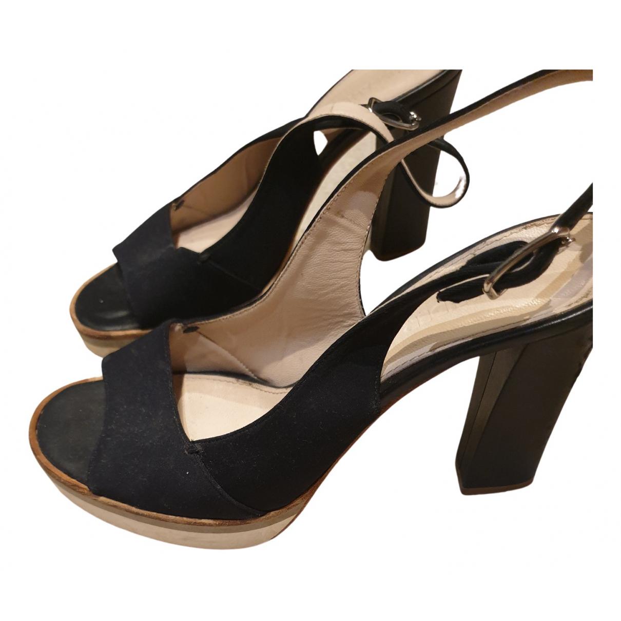 Jil Sander \N Black Cloth Sandals for Women 37.5 EU