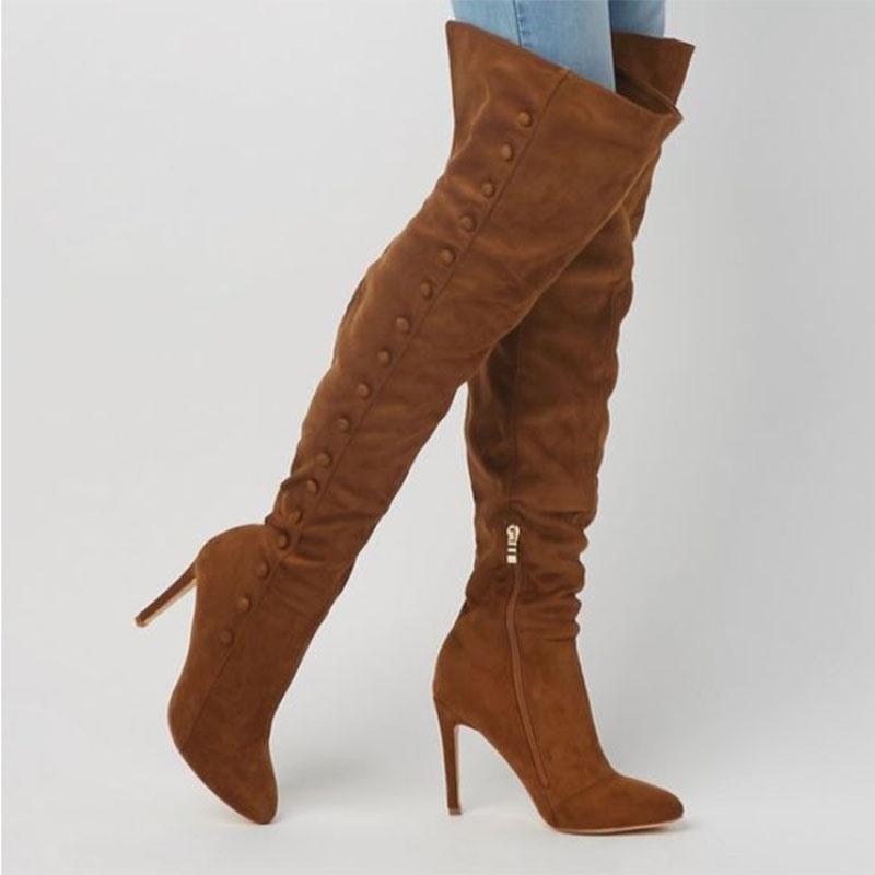 Ericdress Stiletto Heel Pointed Toe Side Zipper Women's Knee High Boots