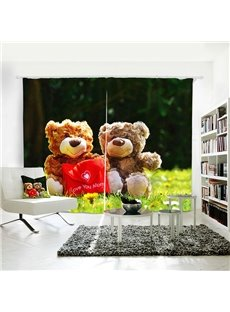 3D Blackout Cute Bear Doll Pattern Digital Printing Curtains
