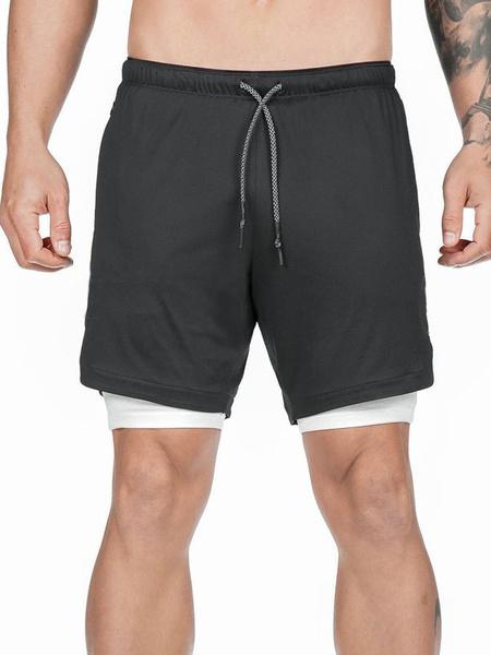 Milanoo Men Workout Shorts 2 In 1 Drawstring Lightweight Gym Training Sport Short Pants