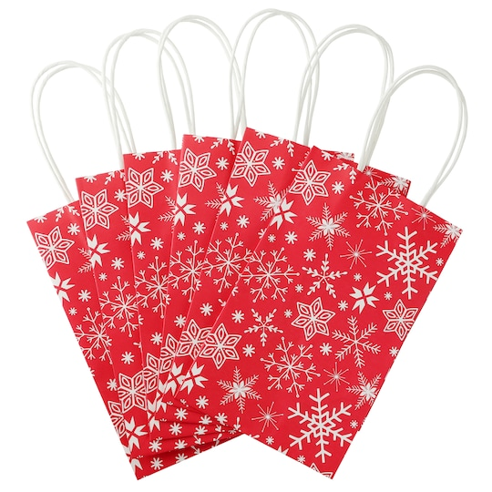 Winter Snowflakes Christmas Gift Bags By Celebrate It®, 6Ct. in Red | Michaels®