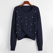 Pearls Detail Twist Front Sweater