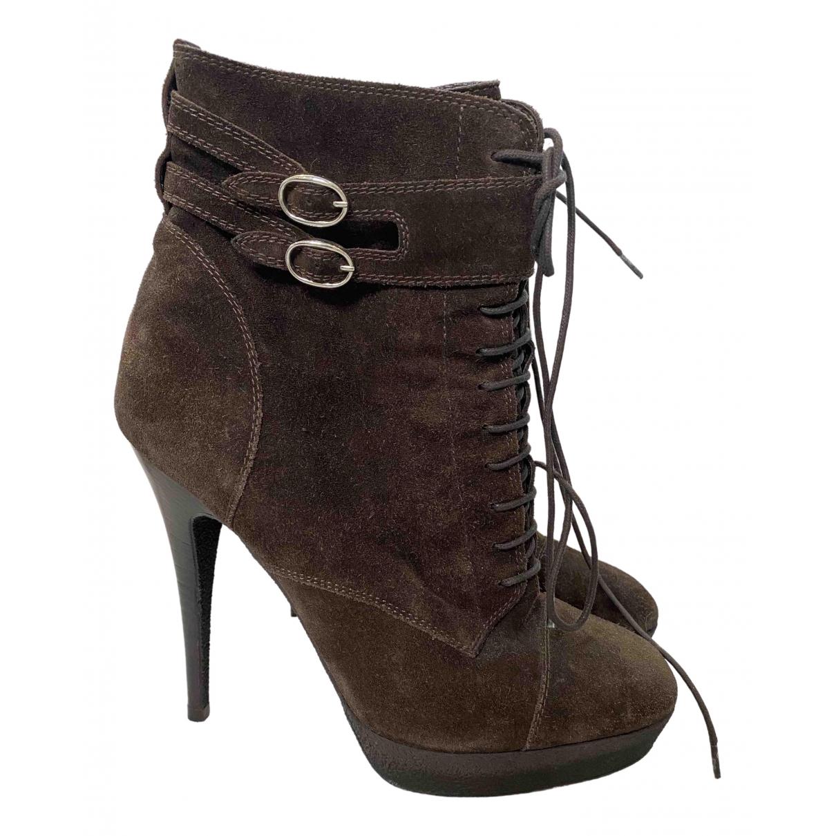 Yves Saint Laurent - Boots   pour femme en suede - marron