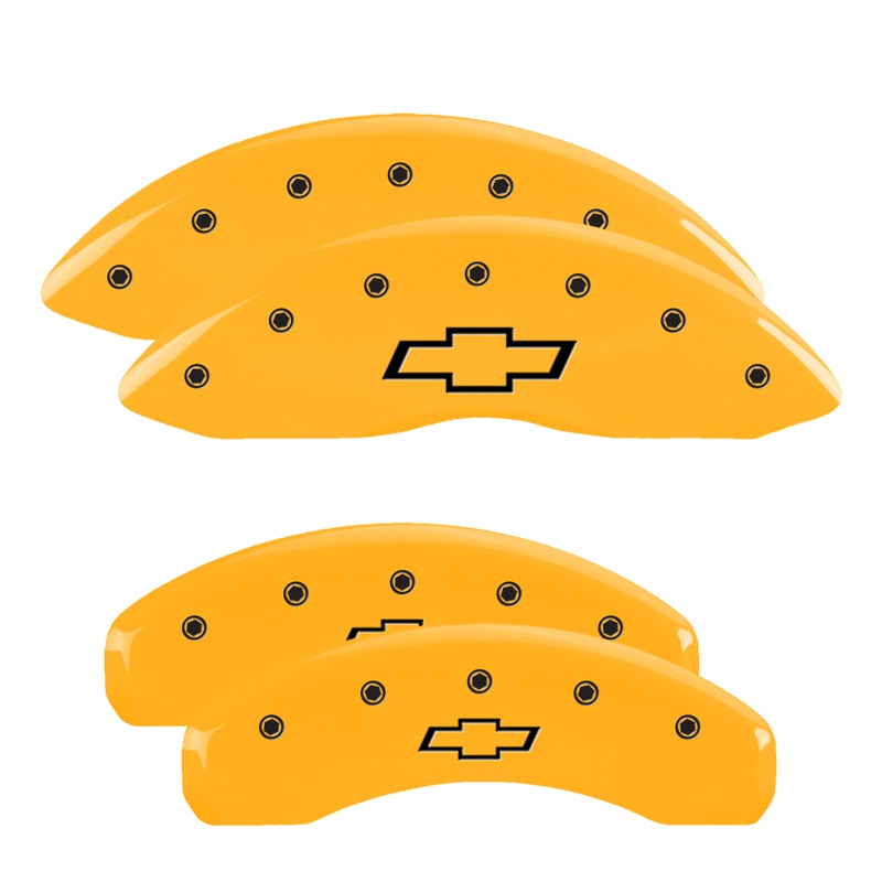 MGP Caliper Covers 14036SBOWYL Set of 4: Yellow finish, Black Bowtie/Bowtie Chevrolet