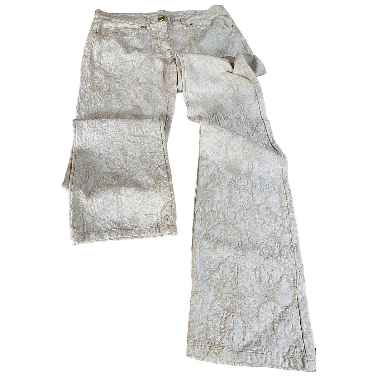 Class Cavalli N Beige Cotton Trousers for Women 42 IT