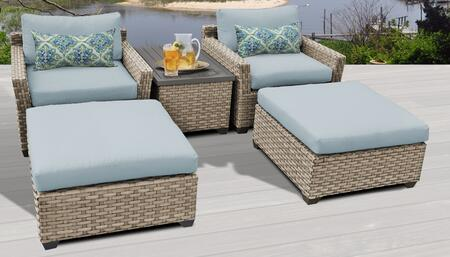 Monterey Collection MONTEREY-05a-SPA 5-Piece Patio Set with 2 Ottomans  1 Storage Coffee Table and 2 Club Chairs - Beige and Spa