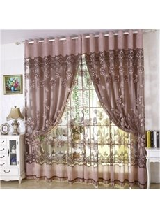 Decoration Polyester European Style Sheer and Lining Curtain Sets