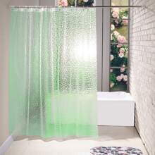 1pc Solid Shower Curtain With 12hooks