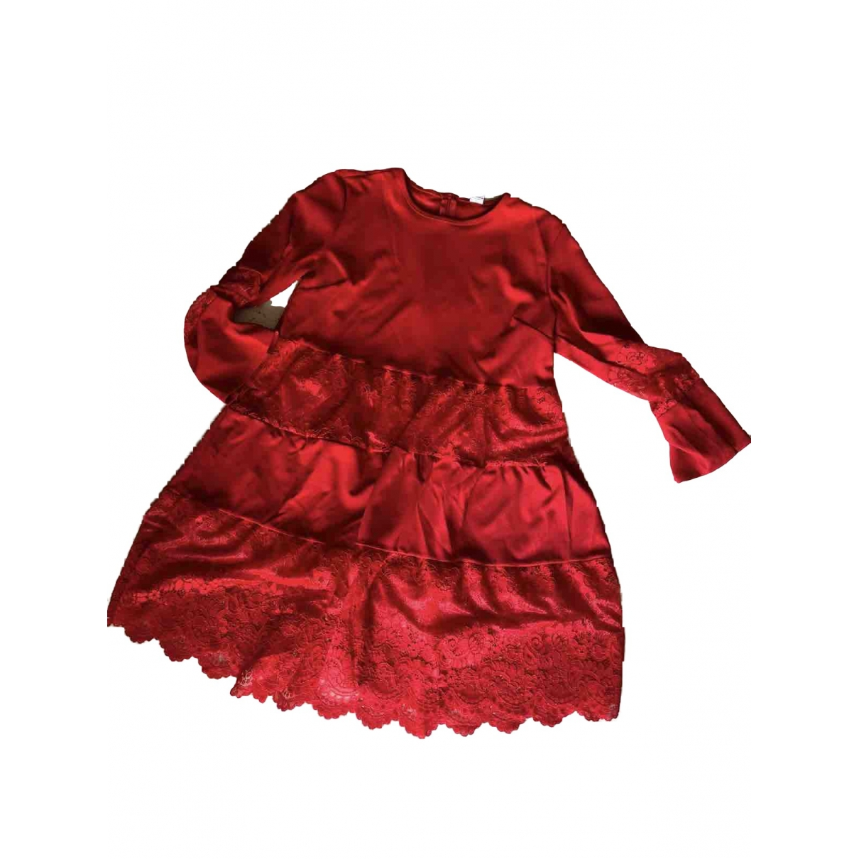 Non Signé / Unsigned Manche ballon Red dress for Women One Size International