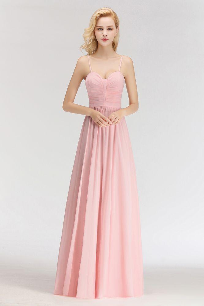 NORENE | A-line Long Sweetheart Spaghetti Sleeveless Bridesmaid Dresses