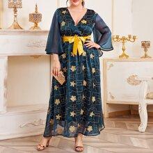 Plus Contrast Mesh Sleeve Floral Belted Dress