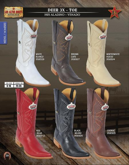 XXXToe Genuine Deer Mens Western Cowboy Boots Diff. Colors/Sizes