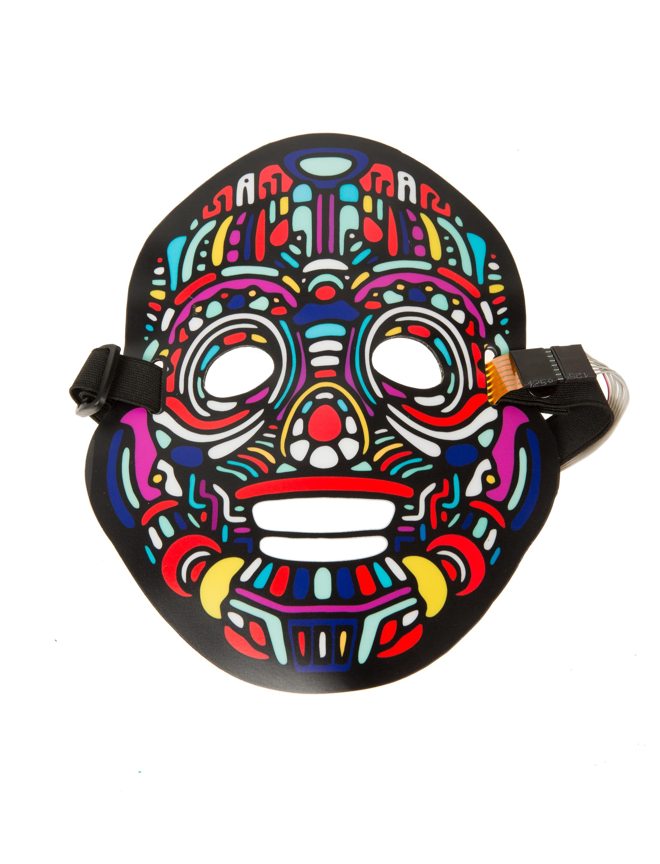 Kostuemzubehor Maske Roboter mit LED und Geraeuschsensor Farbe: multicolor bzw. bunt