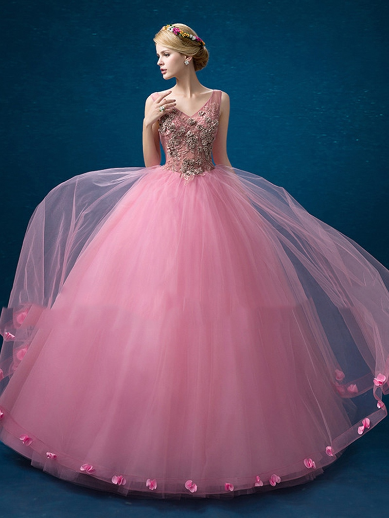 Ericdress V-Neck Ball Gown Appliques Flowers Floor-Length Quinceanera Dress