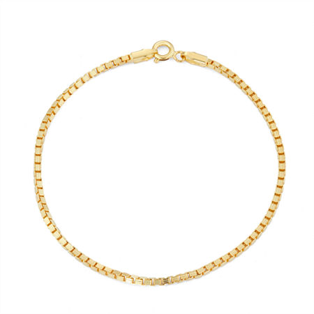14K Gold Over Silver 7.5 Inch Solid Box Chain Bracelet, One Size , No Color Family