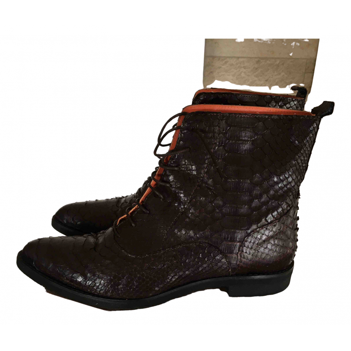 Non Signé / Unsigned N Brown Lizard Ankle boots for Women 39 IT