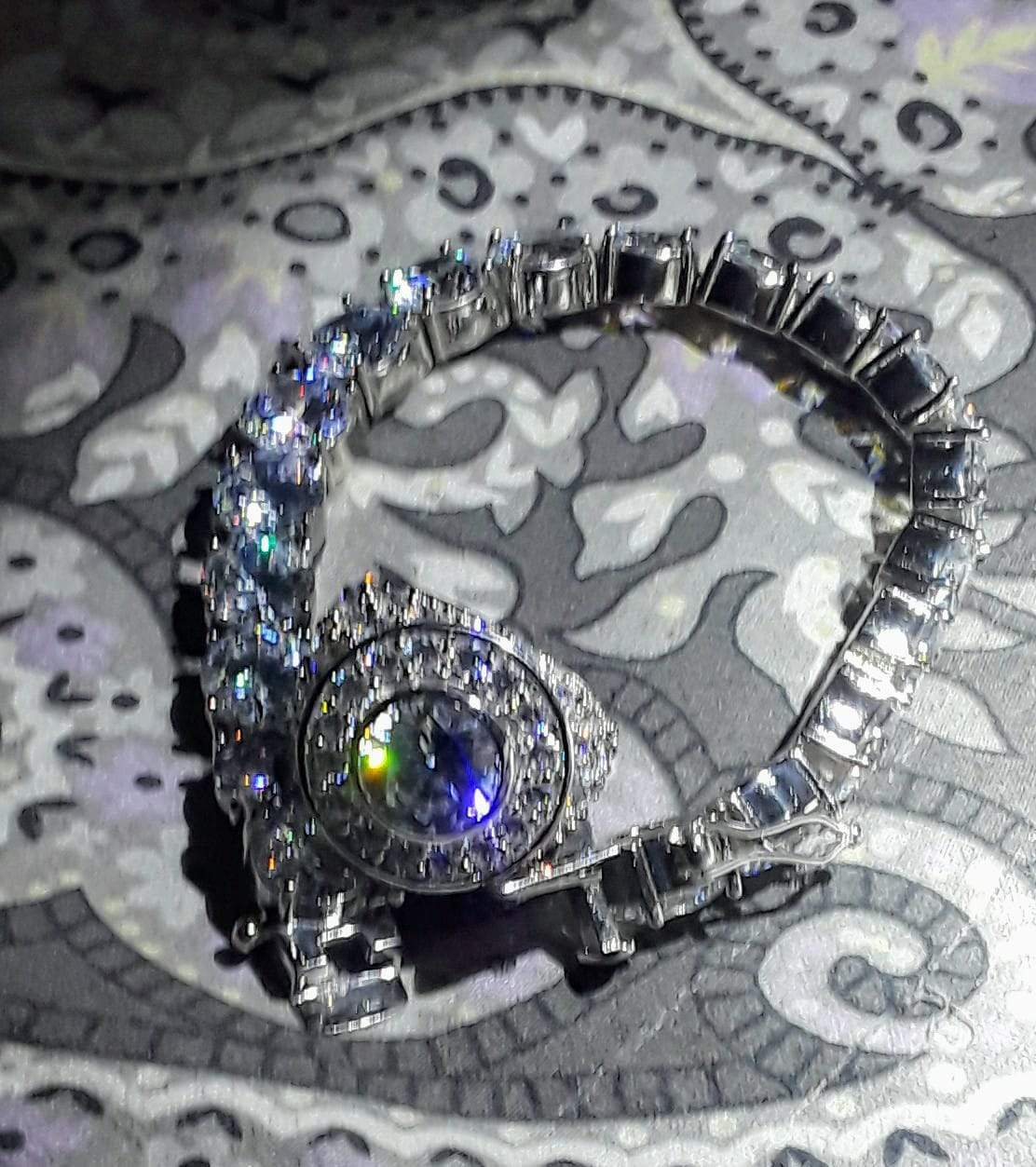 Custom Centerstone Rhodium CZ Bling Bling Ring