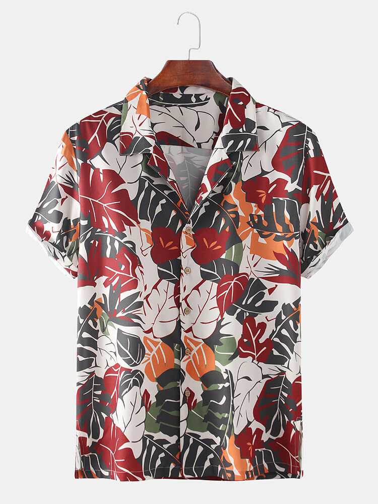 Mens Tropical Plant Leaves Printed Holiday Causal Short Sleeve Floral Shirt