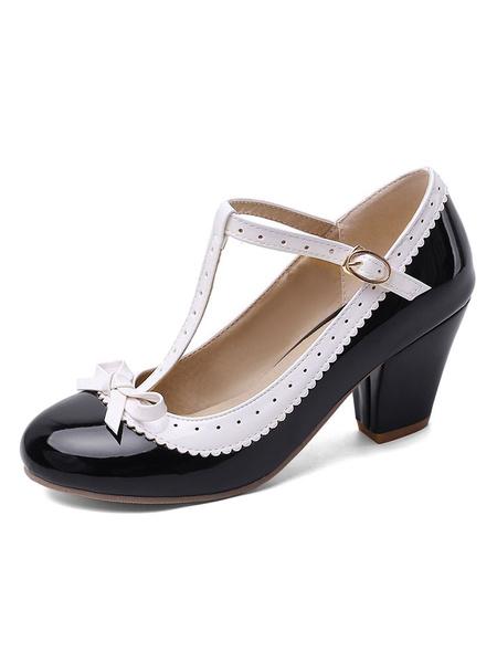 Milanoo Sweet Lolita Footwear Bow T Strap PU Leather Puppy Heel Lolita Pumps