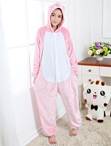 Milanoo Kigurumi Pajamas Piglet Onesie Pink Flannel Animal Winter Sleepwear For Adult Unisex Back With Zipper Costume Halloween