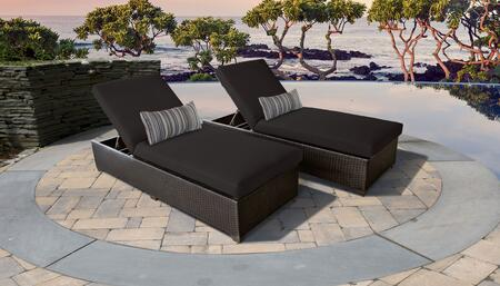 Belle Collection BELLE-2x-BLACK Set of 2 Chaises - Wheat and Black
