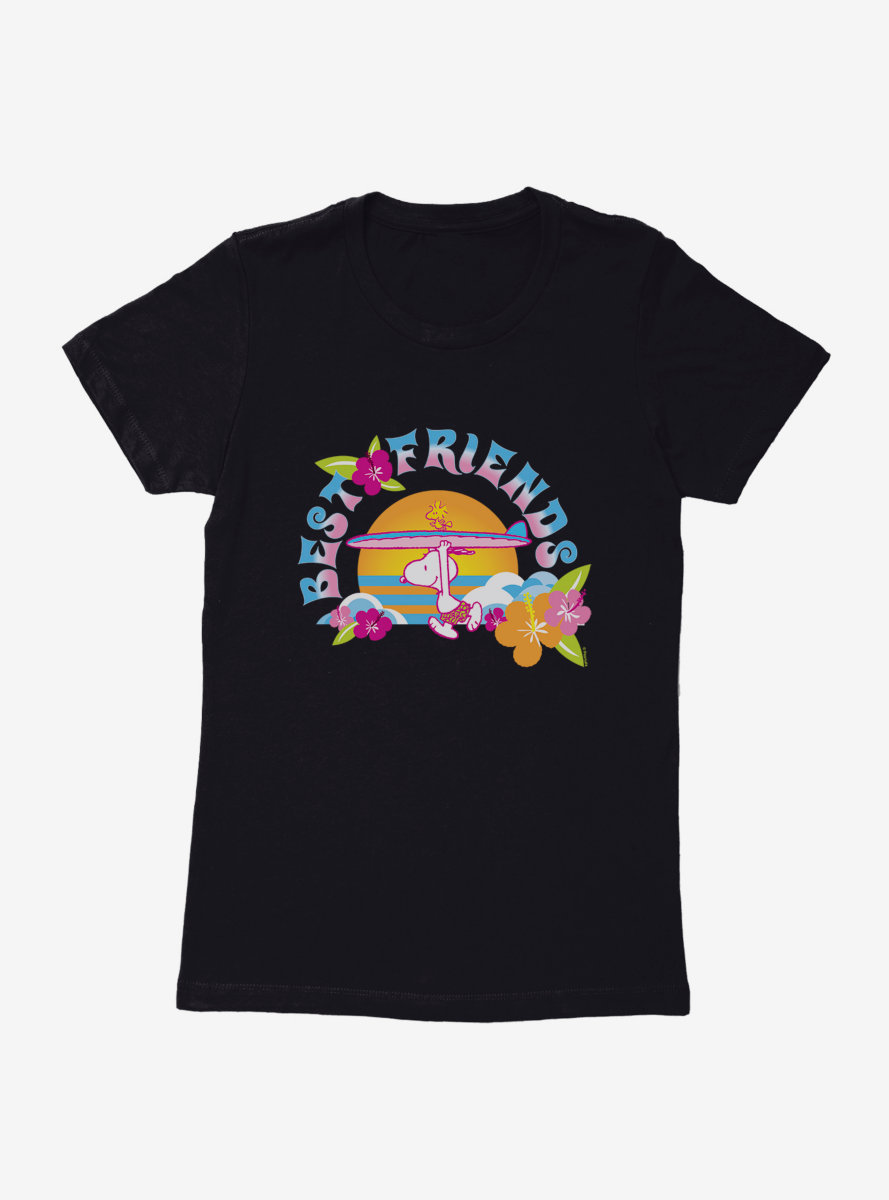 Peanuts Best Friends Surf Together Snoopy Woodstock Womens T-Shirt