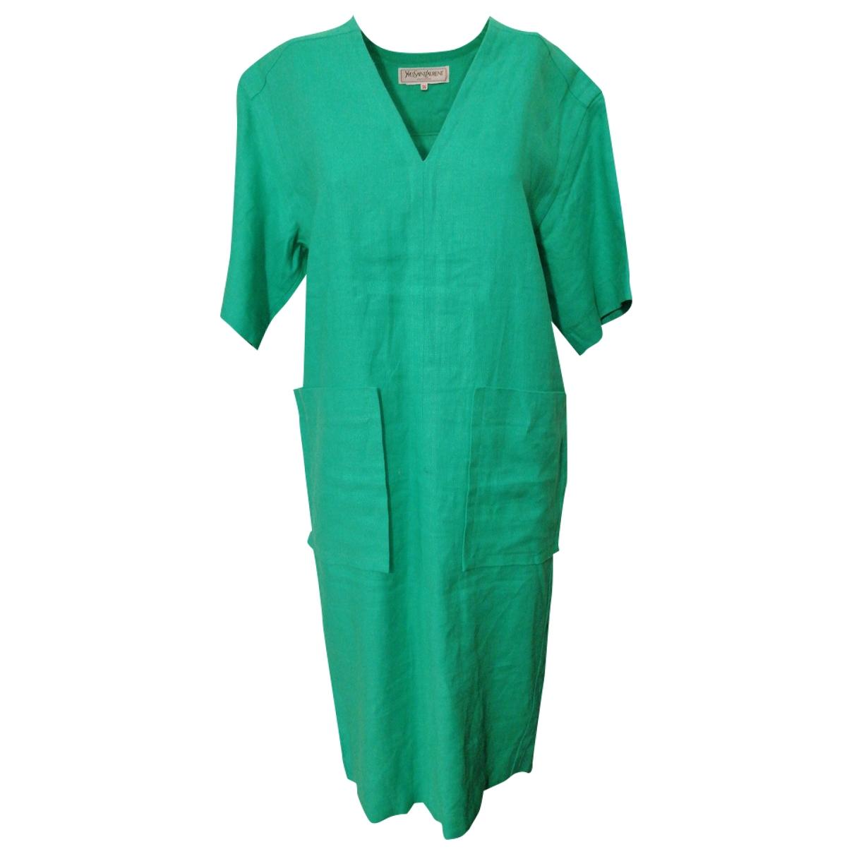 Yves Saint Laurent \N Kleid in  Gruen Leinen