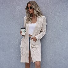 Dual Pockets Cable Knit Open Front Cardigan