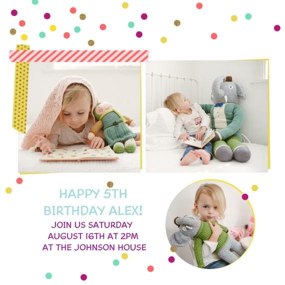 Kids Birthday Party Invites 5x5 Flat Card Set, 85lb, Card & Stationery -Birthday Unwrapped, Girl