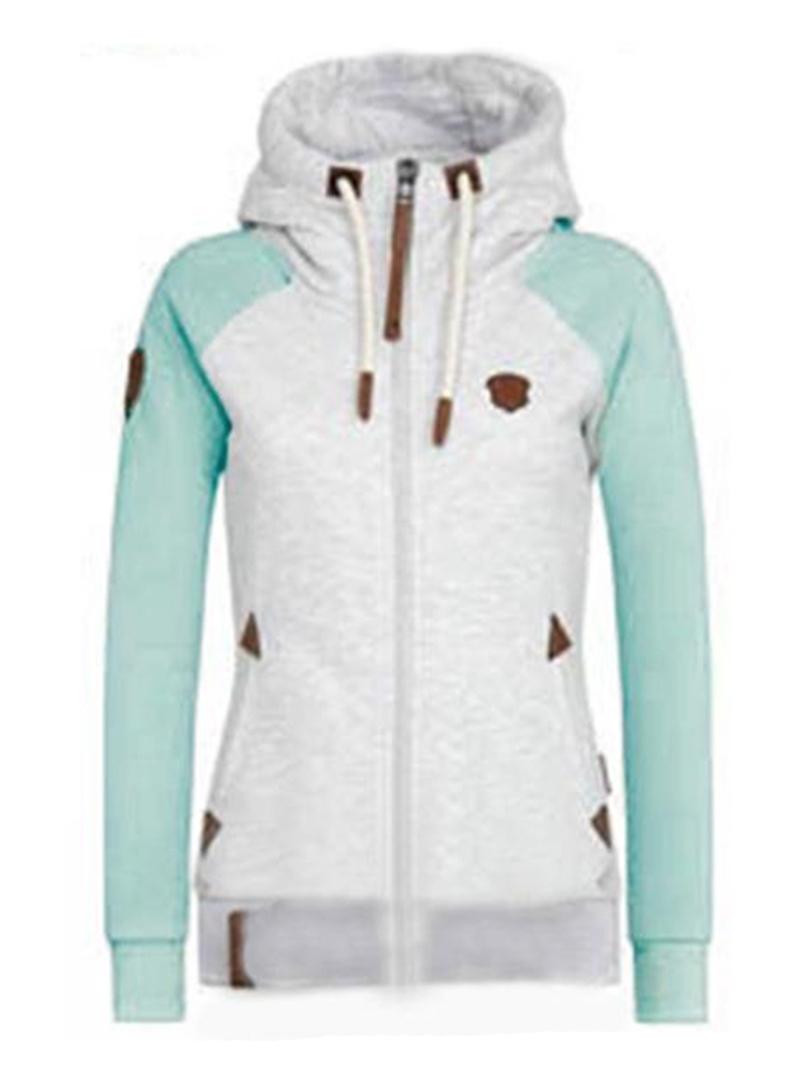 Ericdress Zipper Color Block Standard Long Sleeve Hoodie