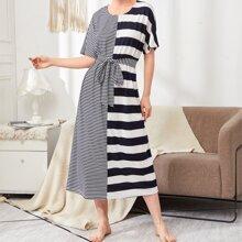 Dolman Sleeve Self Belted Striped Dress