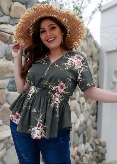 Plus Size Floral Print Short Sleeve T Shirt - 2XL