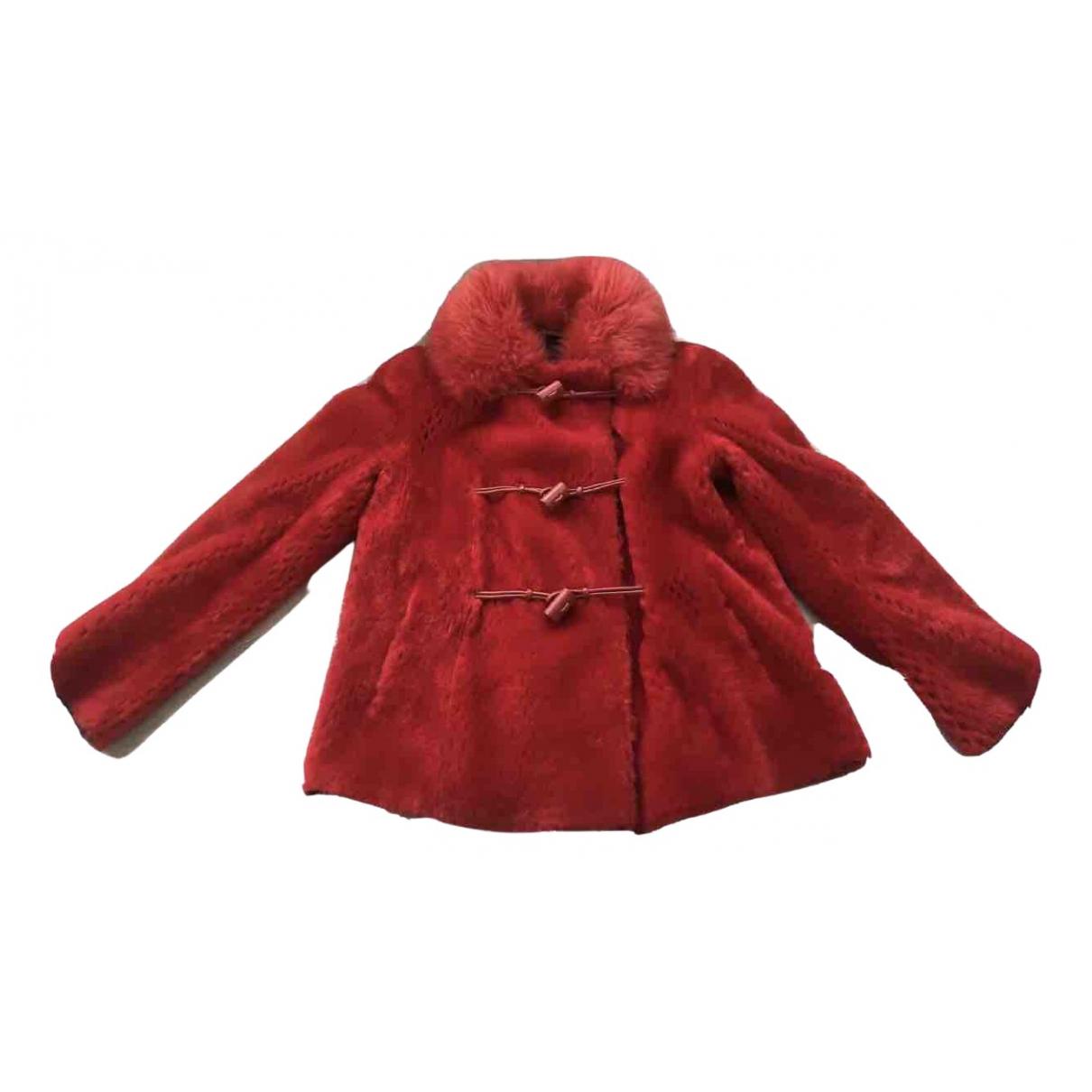 Giorgio Armani N Red Mongolian Lamb jacket for Women XS International