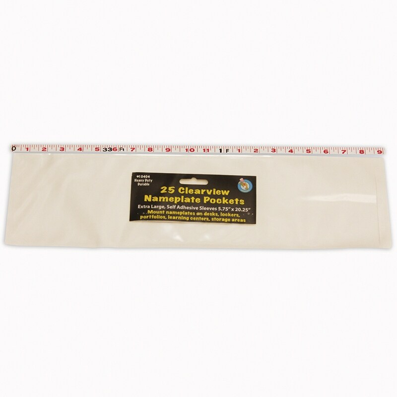 (2 Pk) Clr Self-Adhesive Pockets 25 Per Pk Xlrg Name Plate 5.75X20