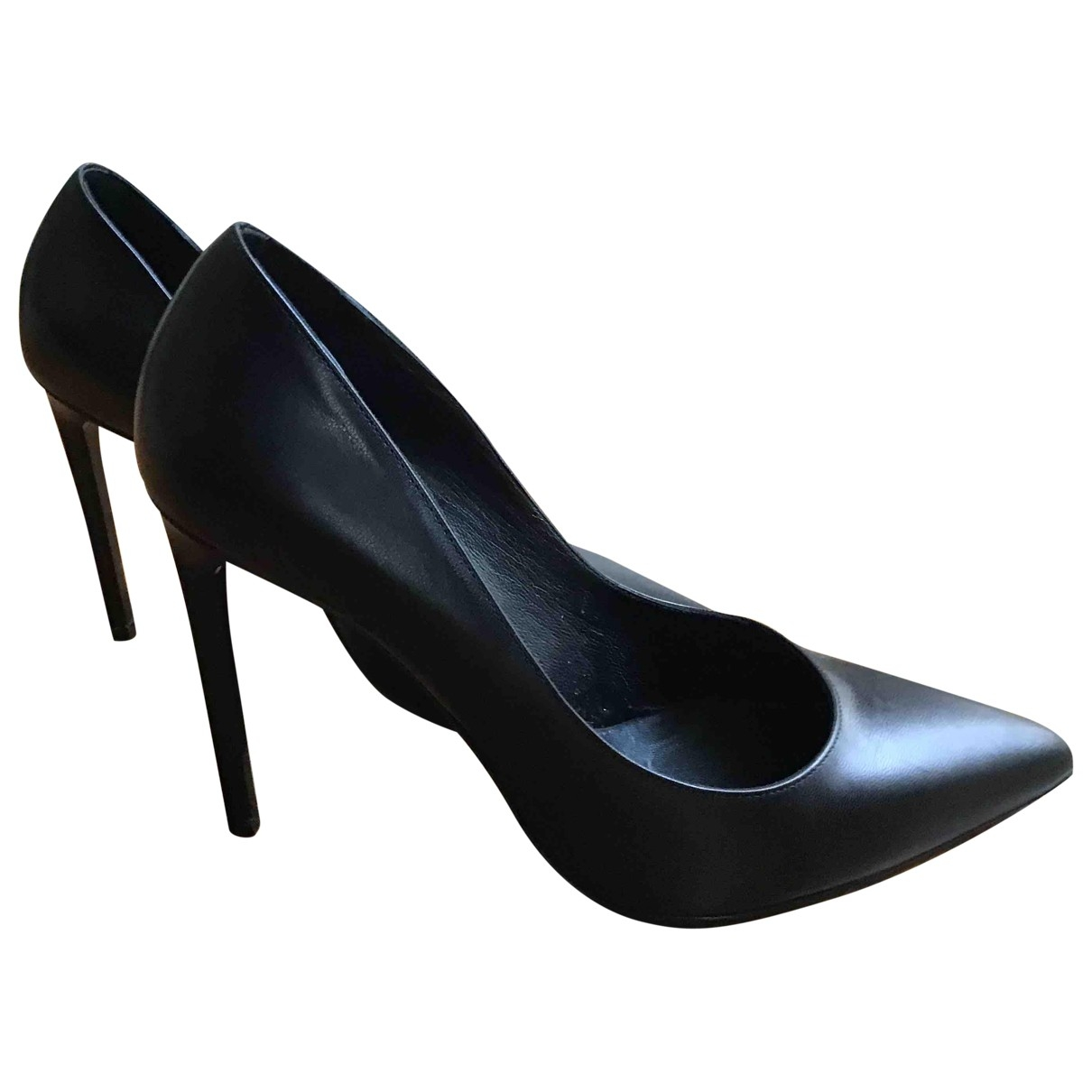 Saint Laurent Anja Black Leather Heels for Women 38 EU
