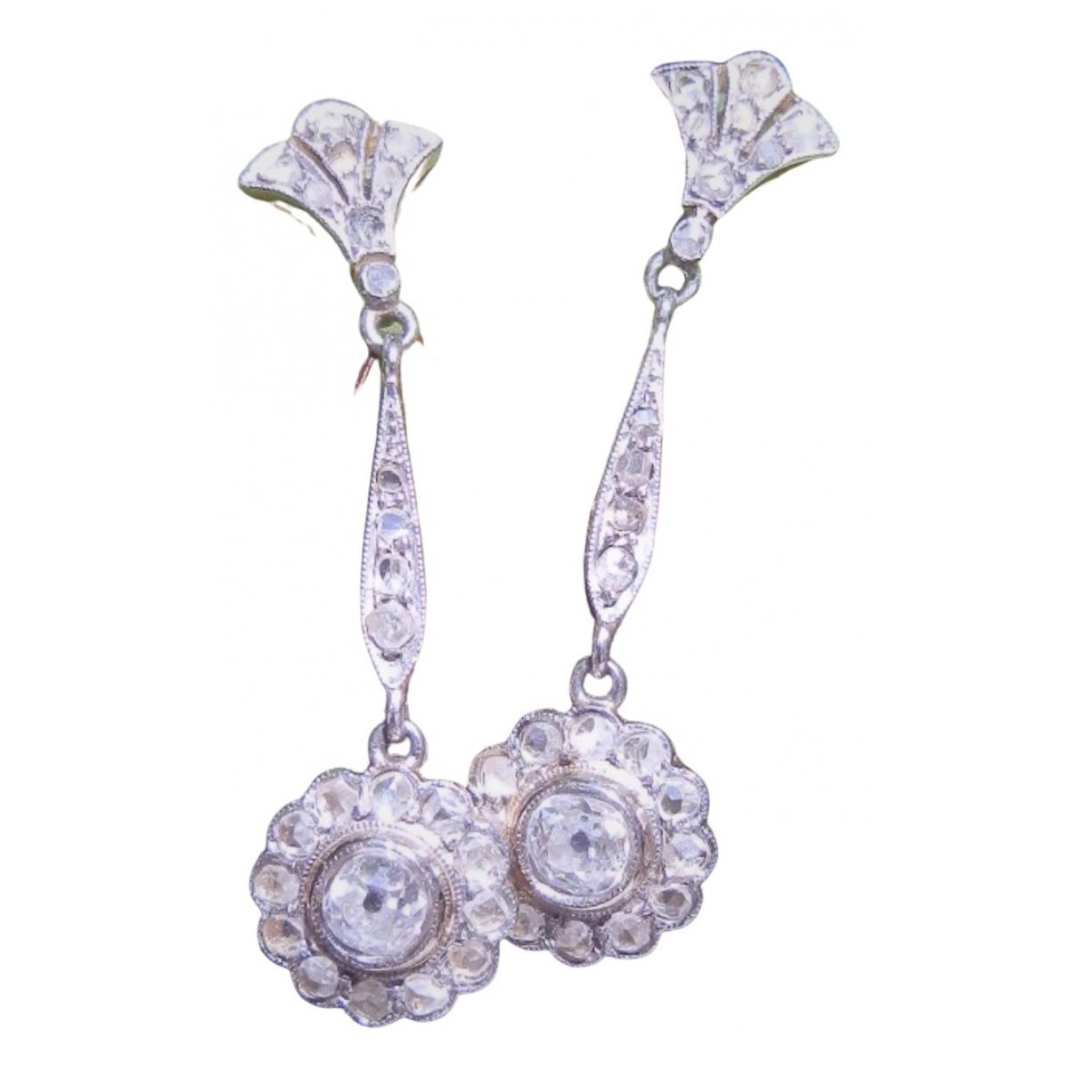 Non Signé / Unsigned Dormeuses Silver Platinum Earrings for Women \N