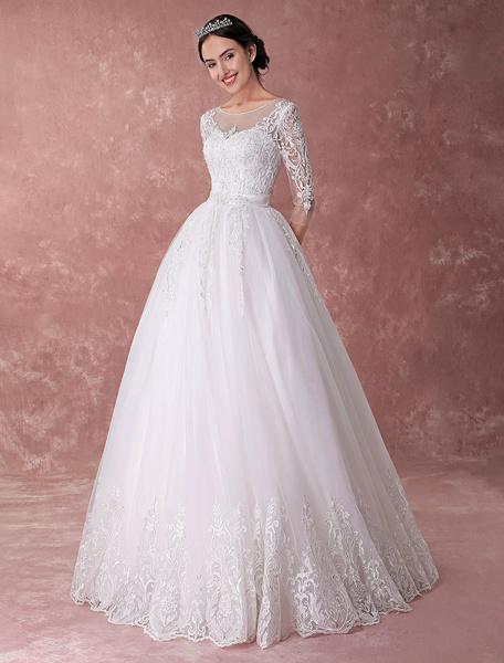 Milanoo Princess Wedding Dresses Ball Gown Lace Beading Sash Backless Floor Length Luxury Bridal Dress