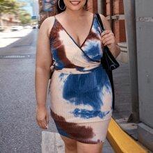 Vestido cruzado de espalda con nudo de tie dye