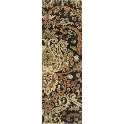 A141-268 26 x 8 Rectangular Ancient Treasures Ink Handmade Area Rug Made with 100% Semi-Worsted New Zealand Wool and Made in