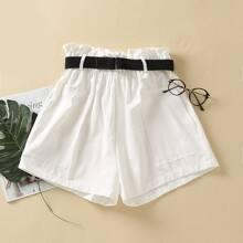 Slant Pocket Paperbag Waist Belted Shorts