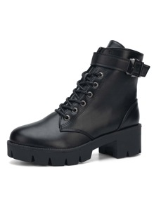 Buckle Lace-up Lug Sole Boots