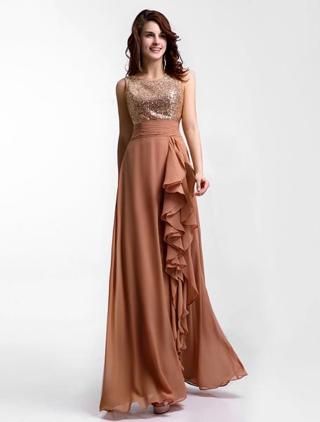 Milanoo Chiffon Evening Dress Amber Sequin Bridesmaid Dress Sleeveless Ruffle Pleated Floor Length Party Dress