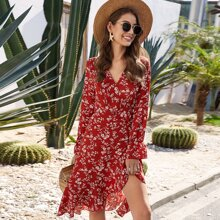 Floral Print Knotted Wrap Dress