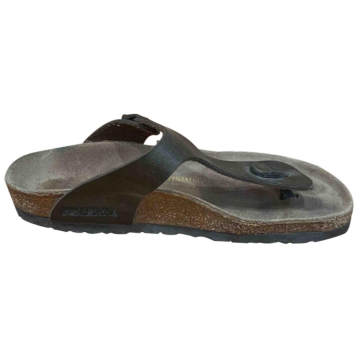 Birkenstock - Sandales   pour femme en cuir - metallise