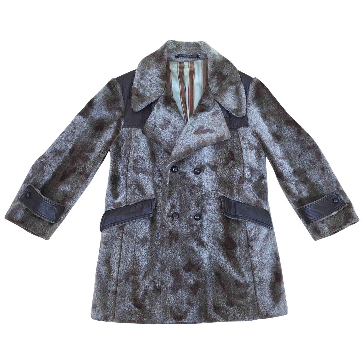 Non Signé / Unsigned Hippie Chic Multicolour Faux fur coat  for Men 50 IT