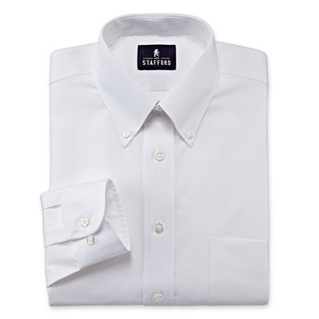Stafford Mens Wrinkle Free Pinpoint Button Down Collar Oxford Big and Tall Dress Shirt, 19 36-37, White